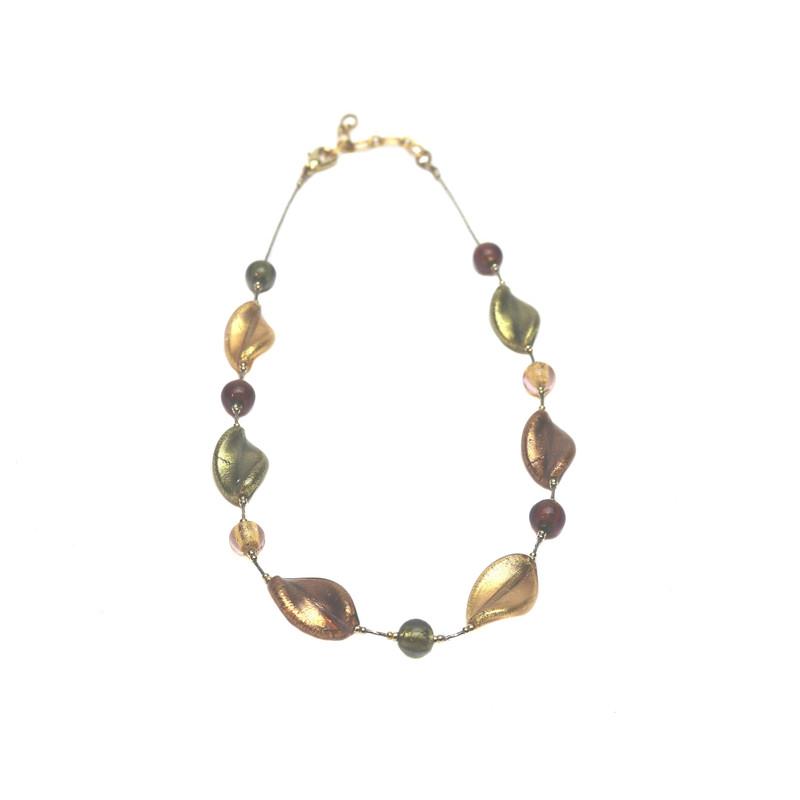 Murano Glass Bella Necklace Amethyst Gold