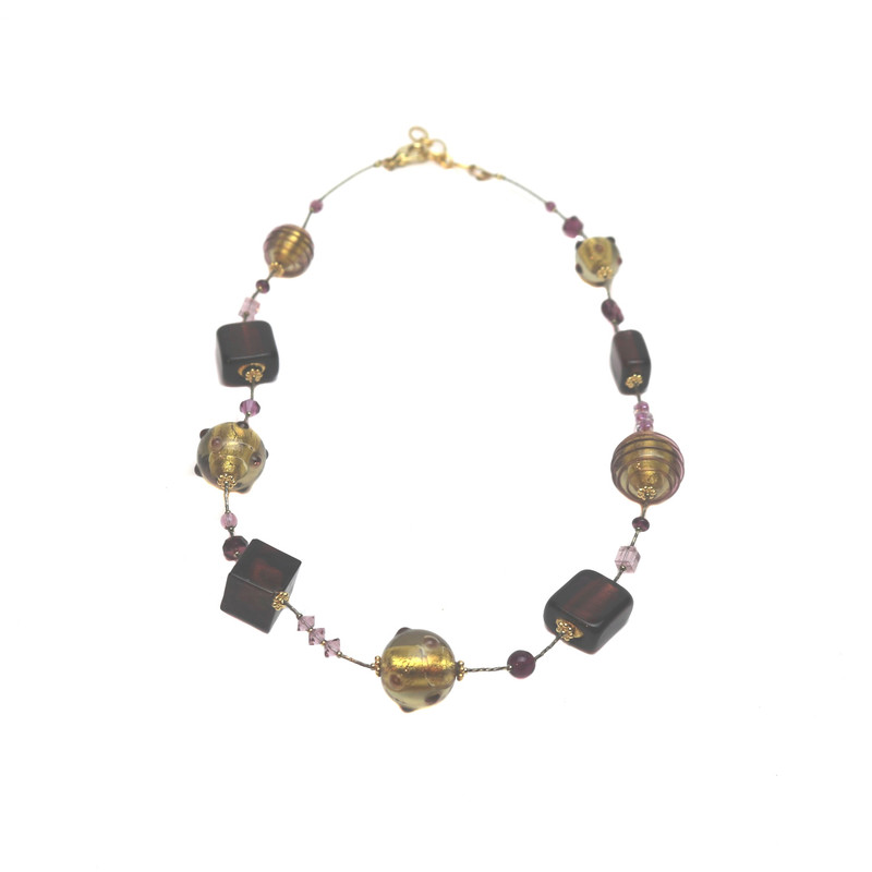 Murano Glass Verona Necklace Amethyst Gold