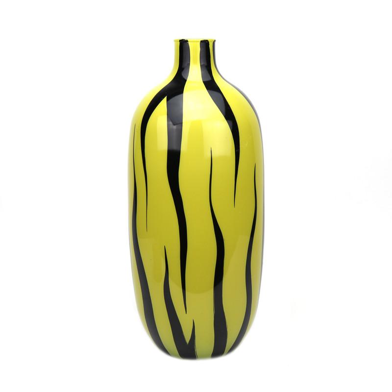 Zebra Vase Mustard Yellow Black