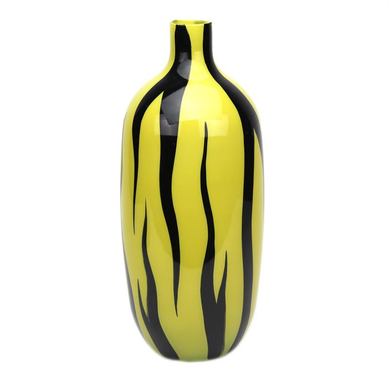 Zebra Vase Mustard Black