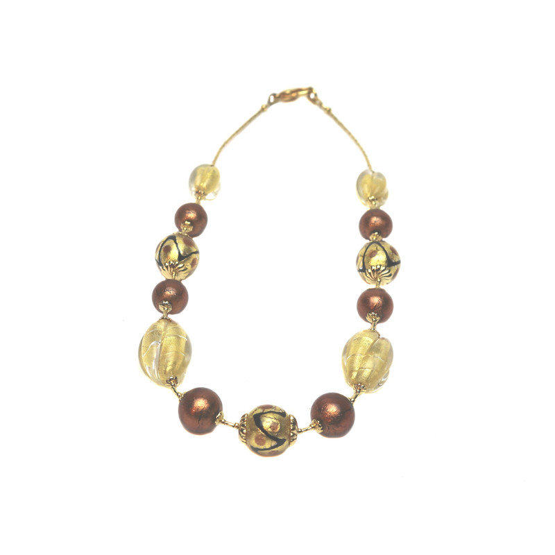 Murano Glass Coco Necklace Amethyst Gold