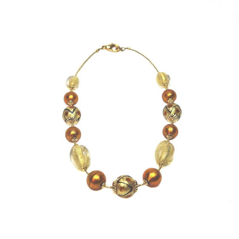 Murano Glass Coco Necklace Amber Gold