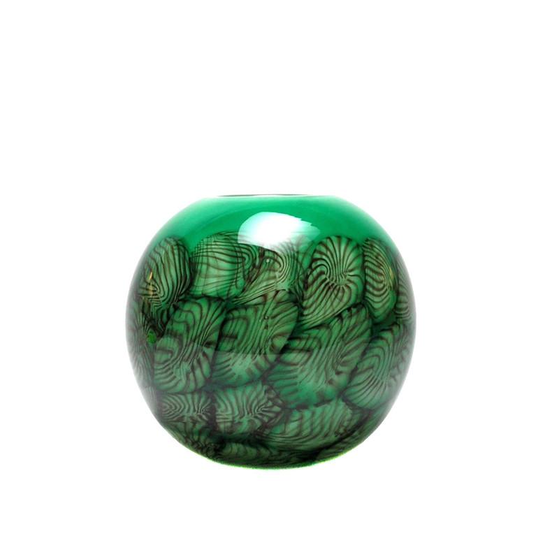 Papillion Vase Round Green Smoke