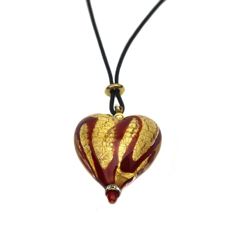 Murano Glass Heart Pendant Red Gold