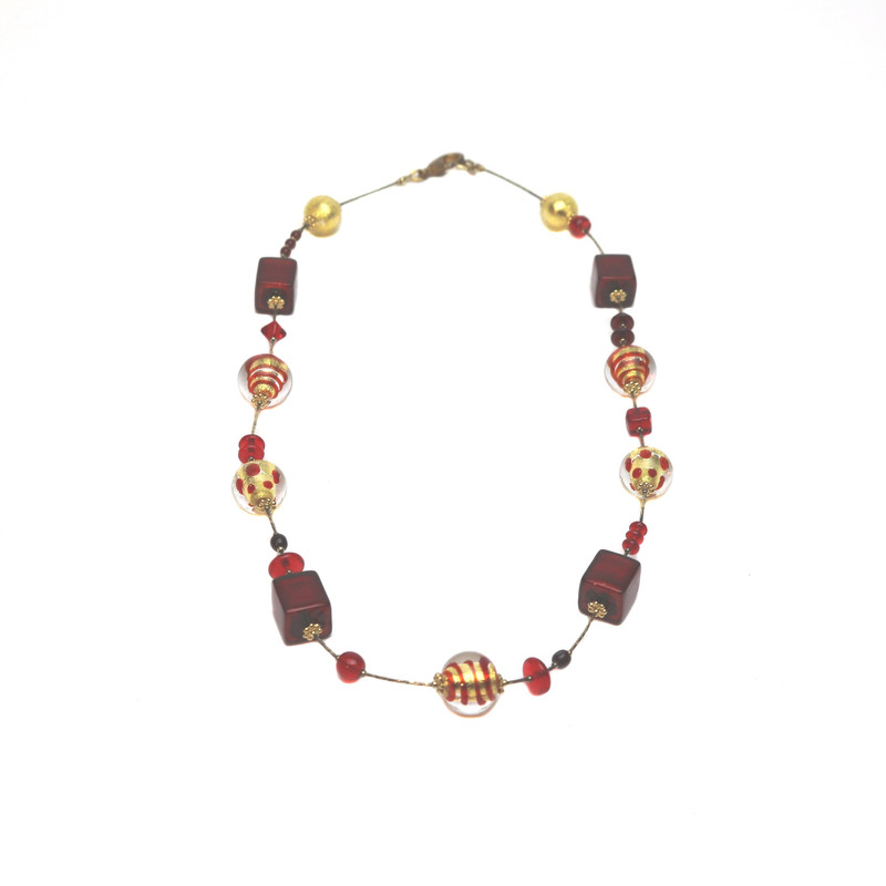 Murano Glass Fantasia Necklace Red Gold