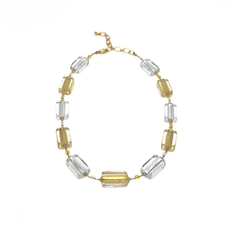 Murano Glass San Remo Necklace Silver Gold