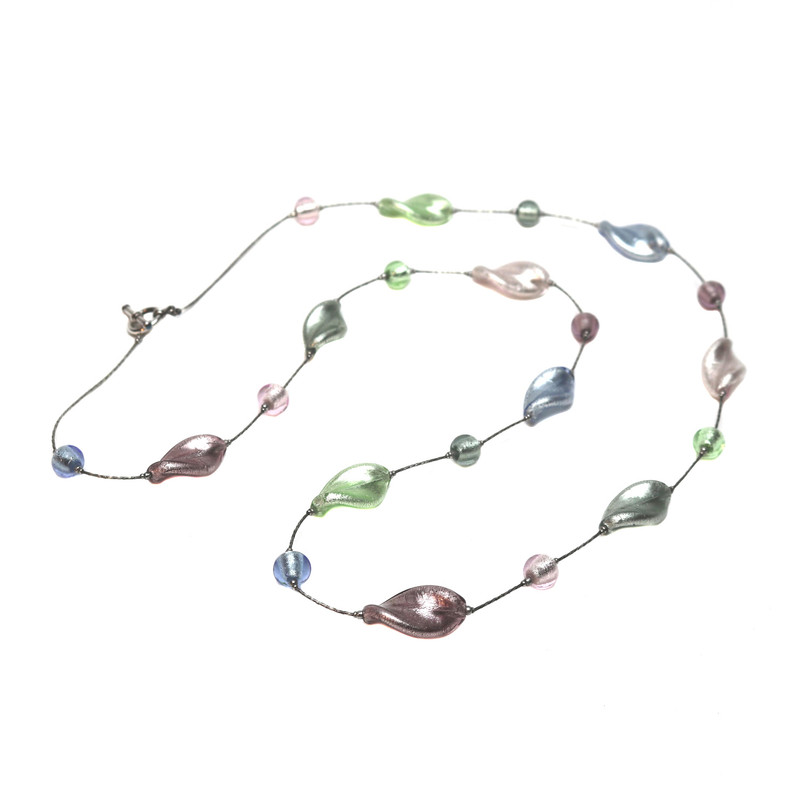 Murano Glass Bella Necklace Long Silver