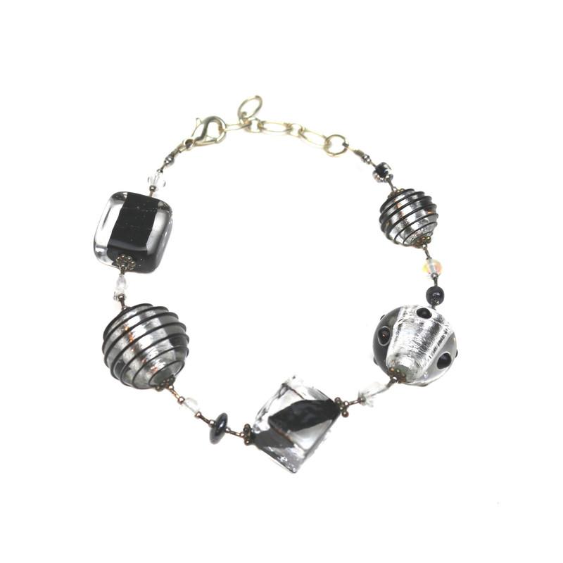 Murano Glass Verona Bracelet Black Silver