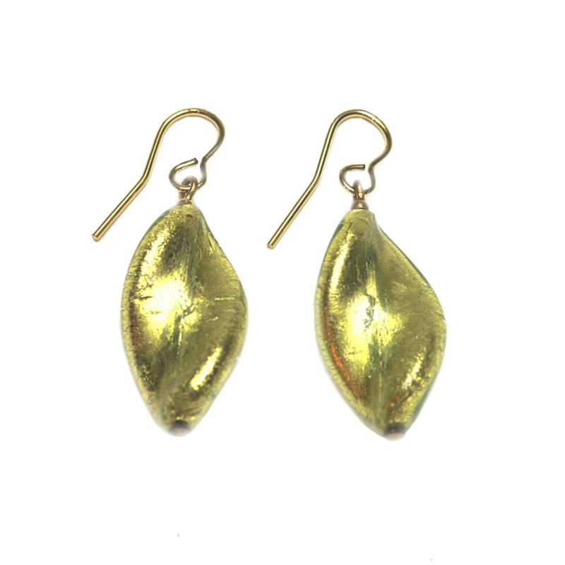 Murano Glass Bella Earrings Gold Green