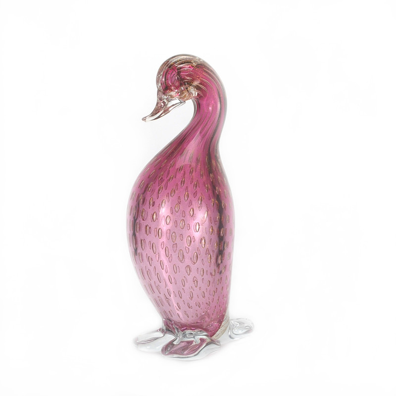 Murano Glass Duck Head Down Ruby Gold