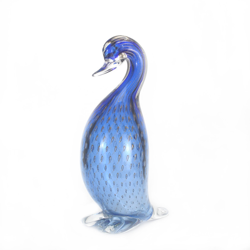 Murano Glass Duck Head Down Blue Gold