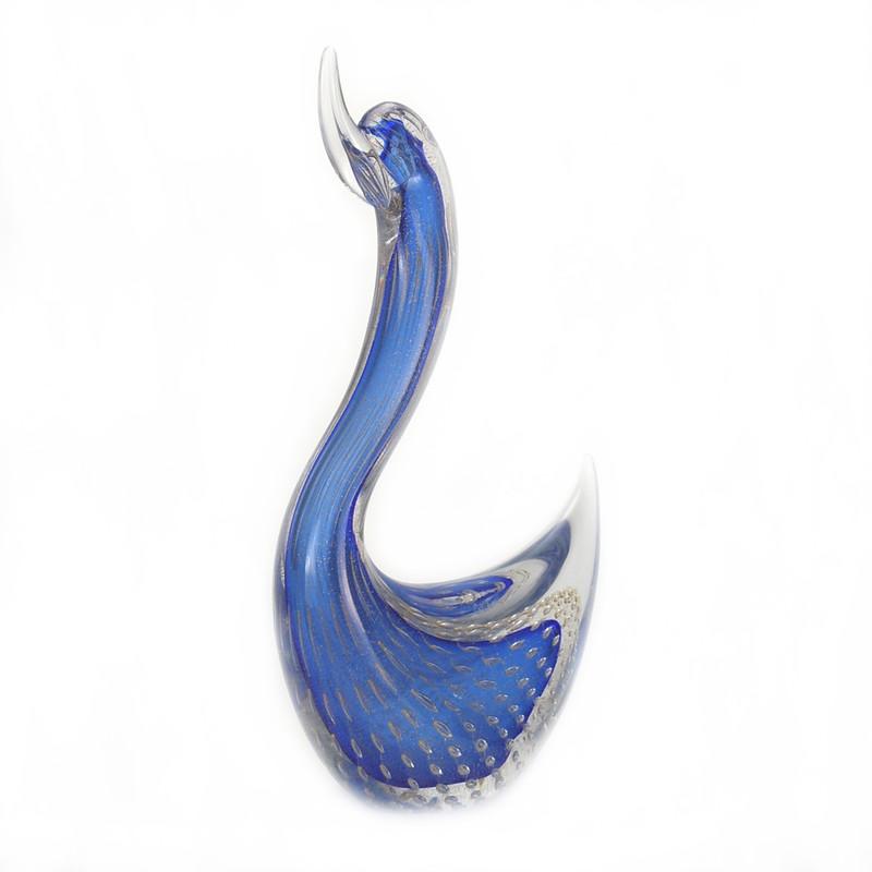 Murano Glass Swan Head Up Blue Gold