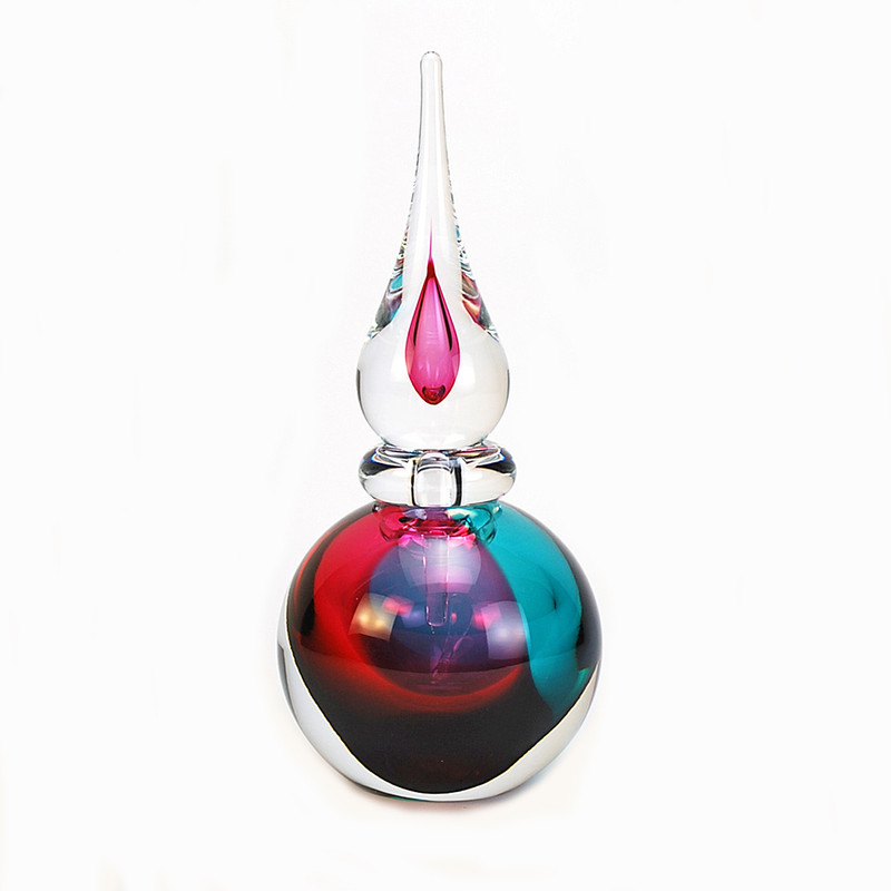 Murano Glass Asti Perfume Bottle Aqua Ruby