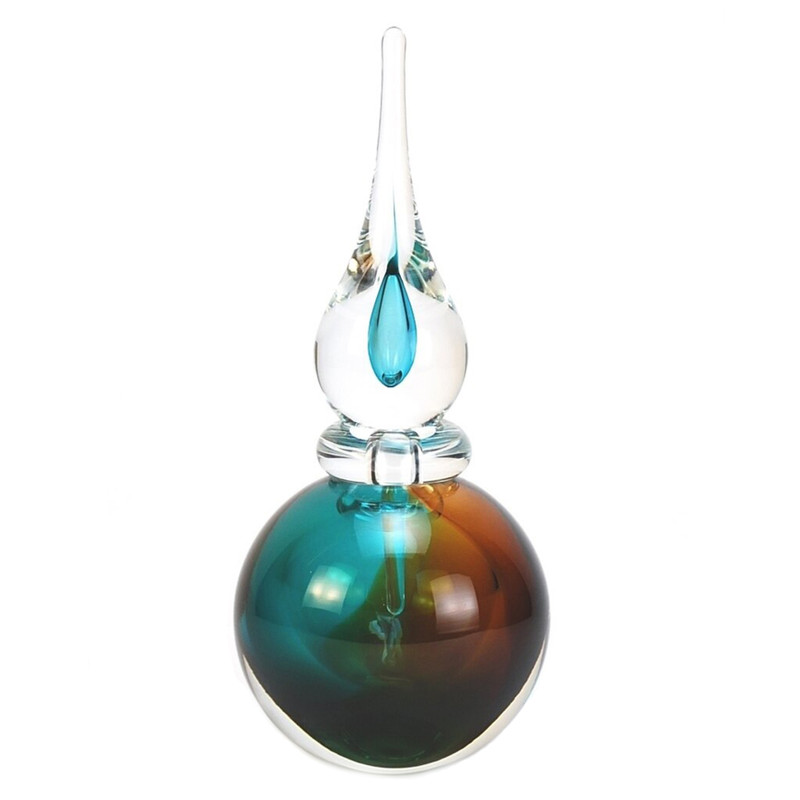 Murano Glass Asti Perfume Bottle Aqua Amber