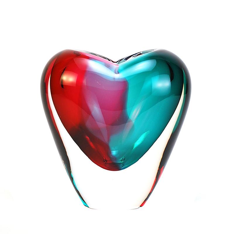 Murano Glass Design Crystal Cuore Vase Aqua Ruby