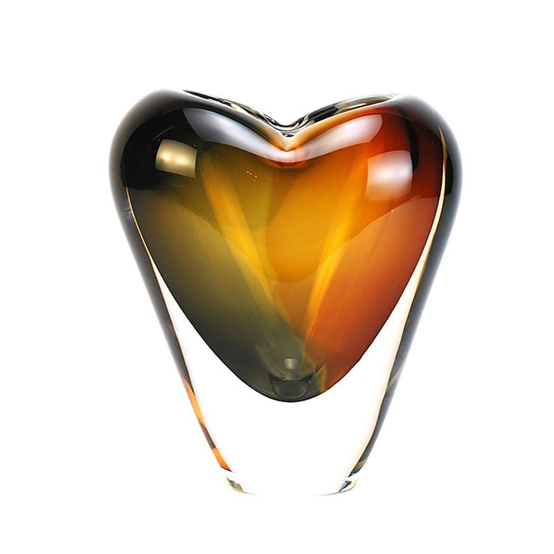 Murano Glass Design Crystal Cuore Vase Amber Smoke