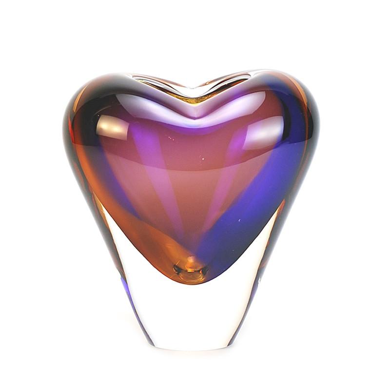 Murano Glass Design Crystal Cuore Vase Topaz Amethyst