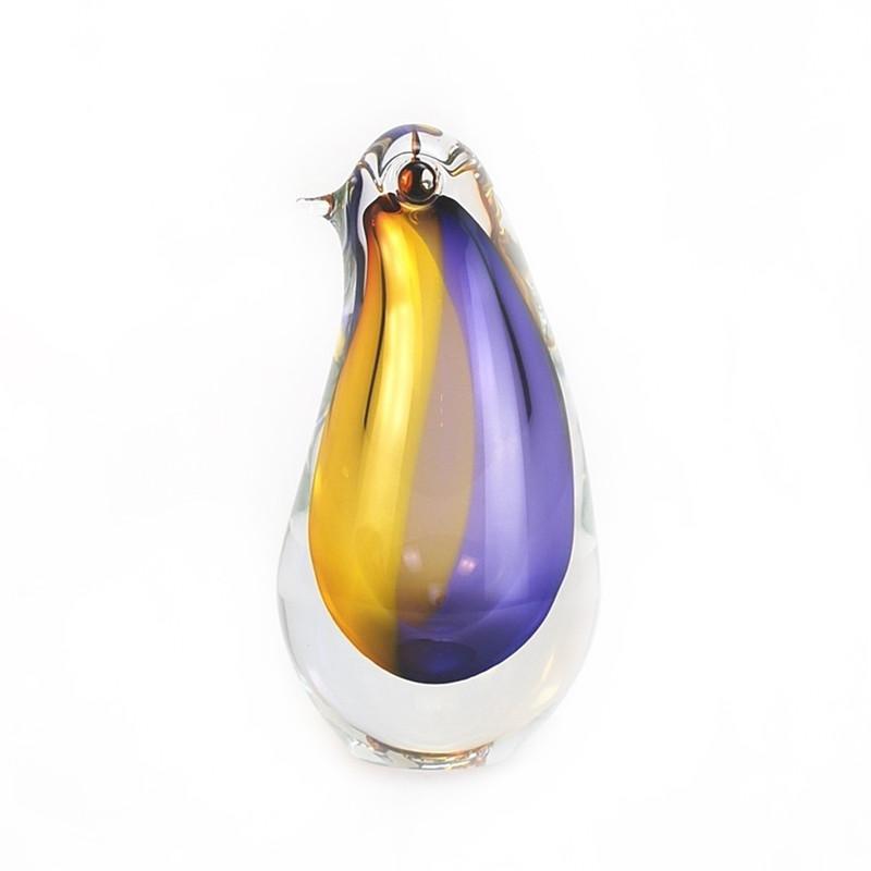 Murano Glass Penguin Topaz Amethyst