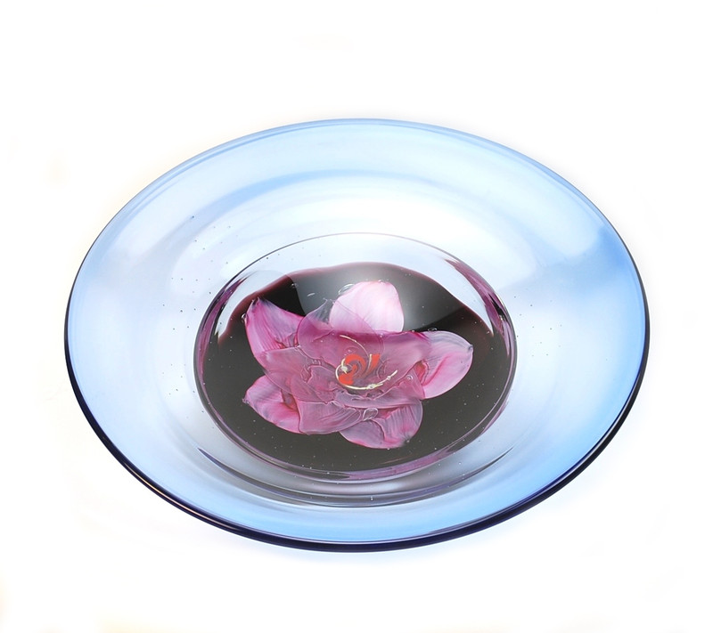 Murano Glass Pink Waterlily Centerpiece Bowl
