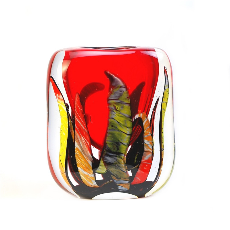 Murano Glass Flames Red Vase