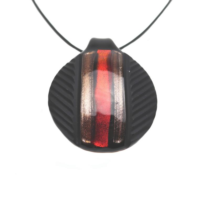 Murano Glass Round Pendant Red Aventurine