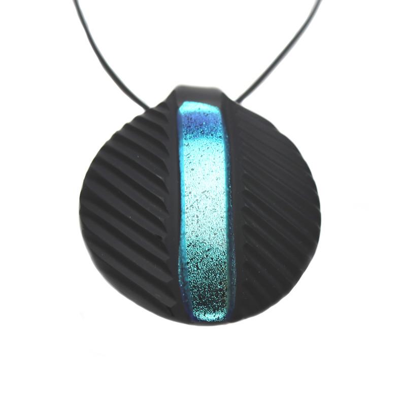 Murano Glass Round Pendant Aquamarine Black Battuti