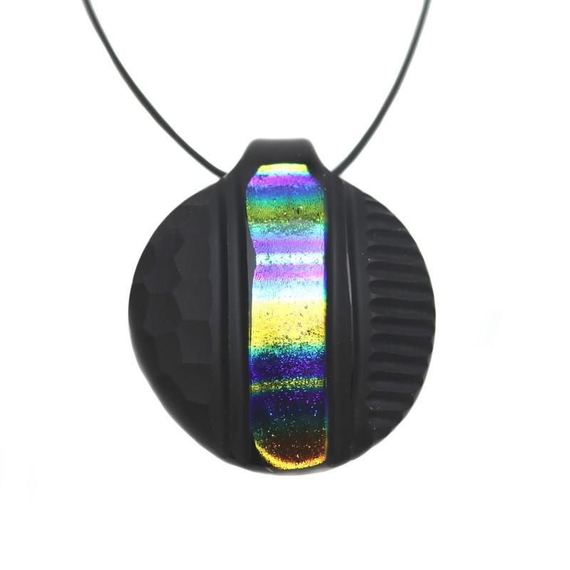 Murano Glass Round Pendant Rainbow Black Battuti