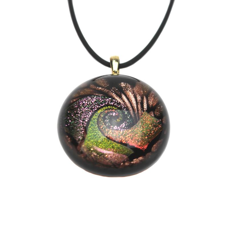 Murano Glass Round Pendant Salmon Ruby Copper