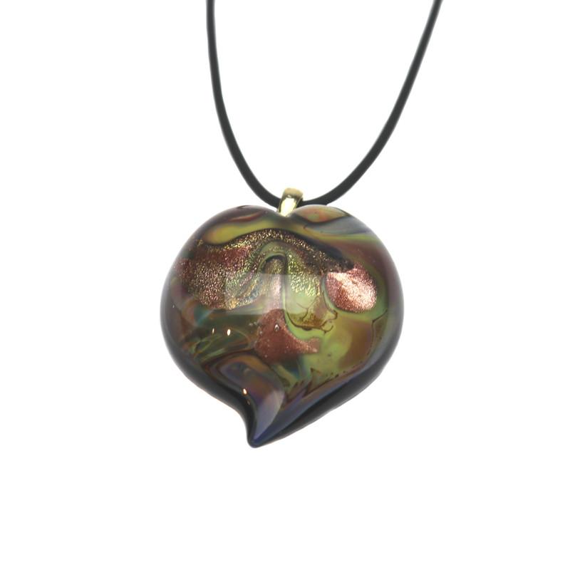 Murano Glass Heart Pendant Calcedonia