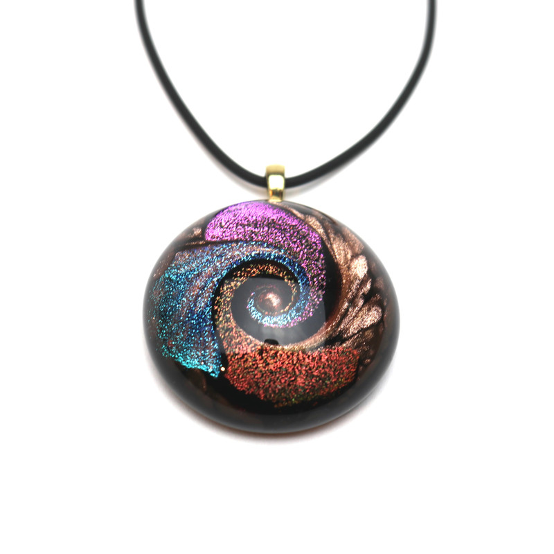 Murano Glass Round Pendant Magenta Blue Copper