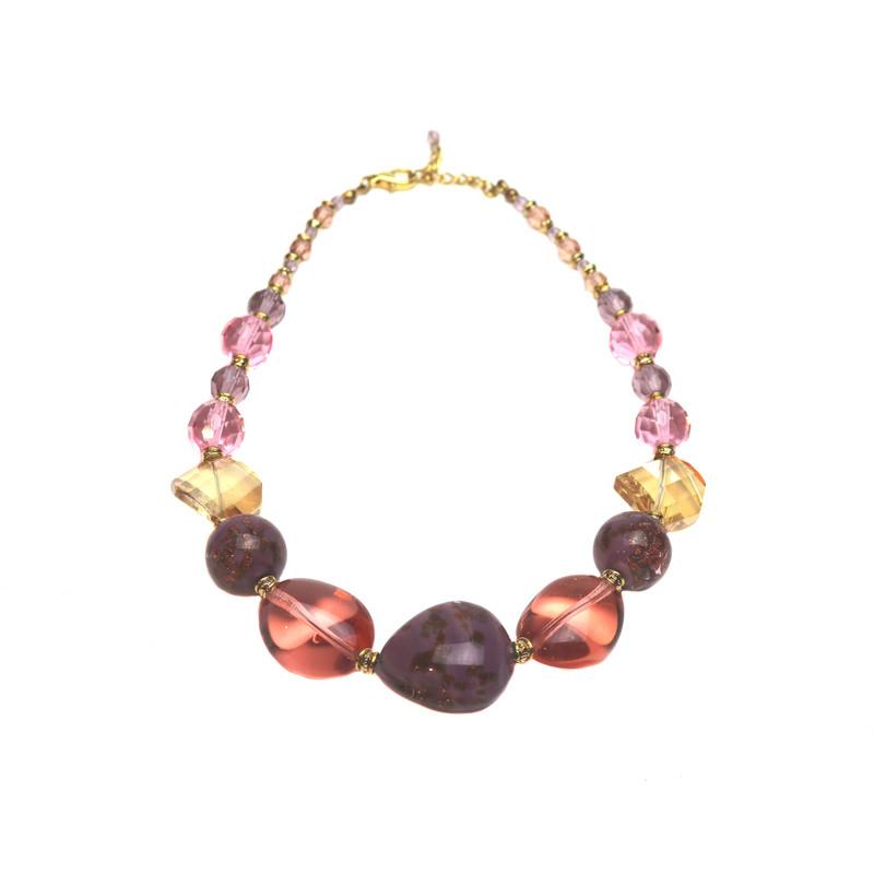 Murano Glass Stressa Rose Aubergine Necklace