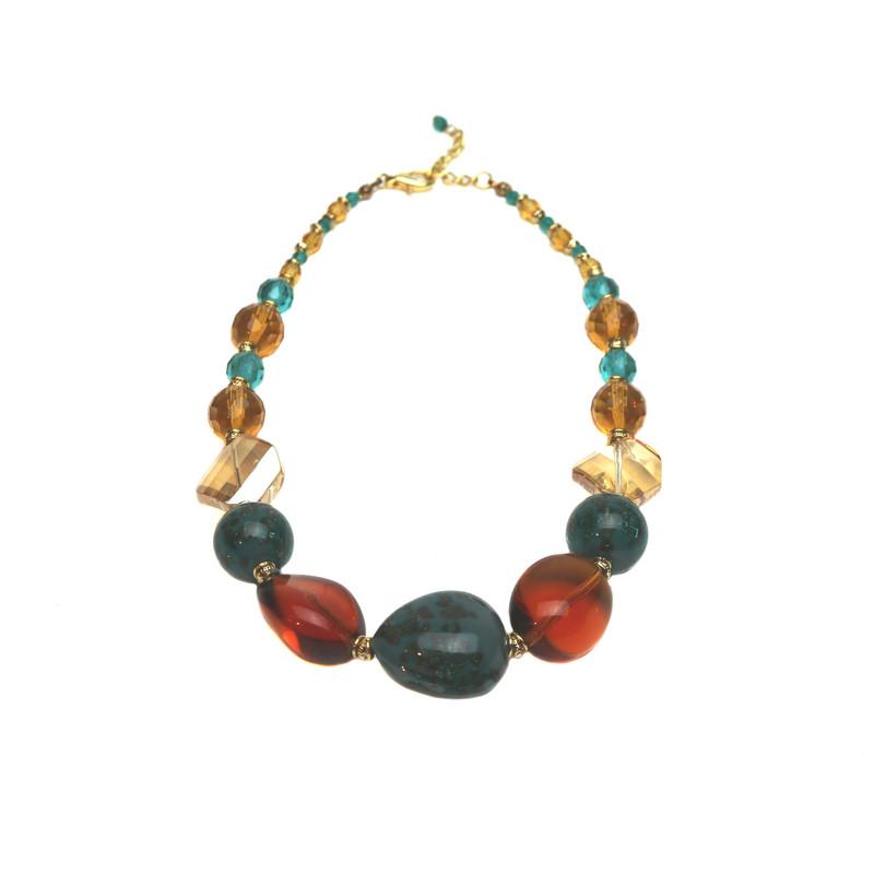 Murano Glass Stressa Amber Jade Necklace