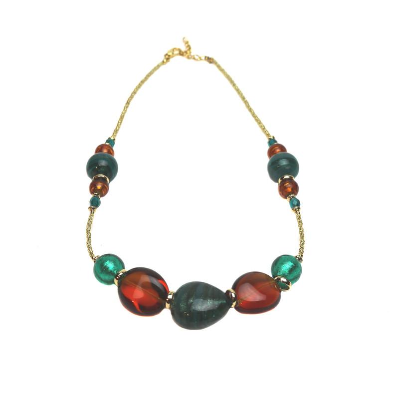 Murano Glass Venezia Amber Jade Necklace