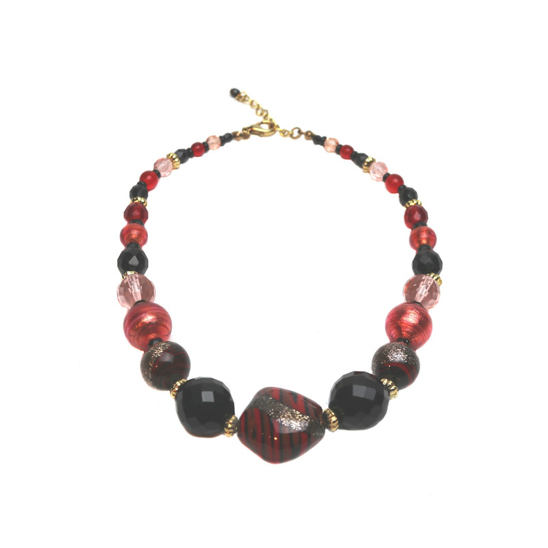 Murano Glass Laguna Red Black Necklace