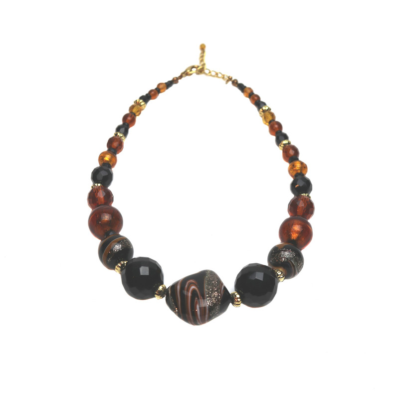 Murano Glass Laguna Amber Black Necklace