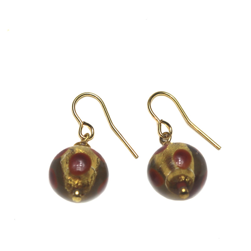 Murano Glass Galaxy Earrings Amethyst Gold