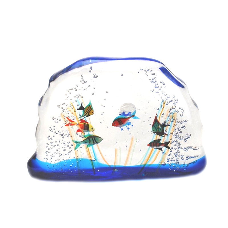 Murano Glass Aquarium with 6 Fish