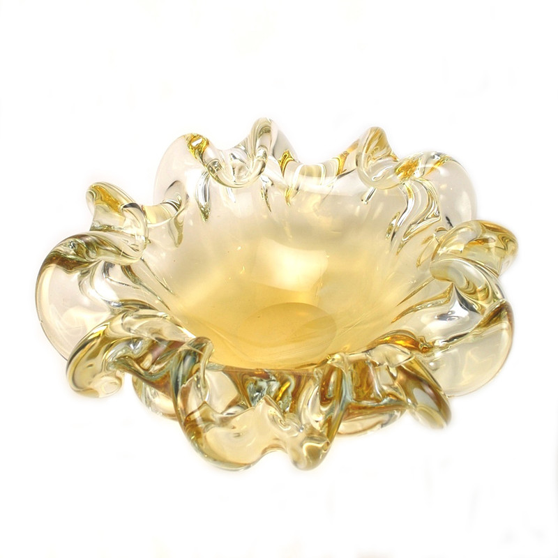 Murano Glass Piemonte Centerpiece Bowl Amber