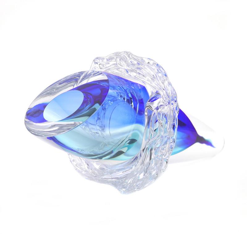 Murano Glass Cornucopia Abstract Aqua Blue