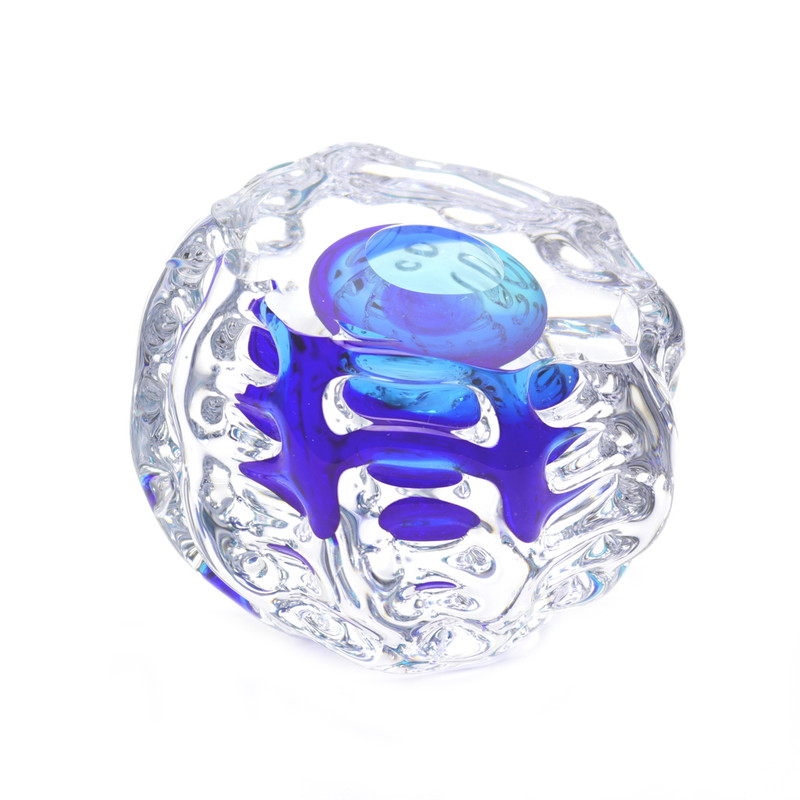 Murano Glass Sphere Abstract Aqua Blue