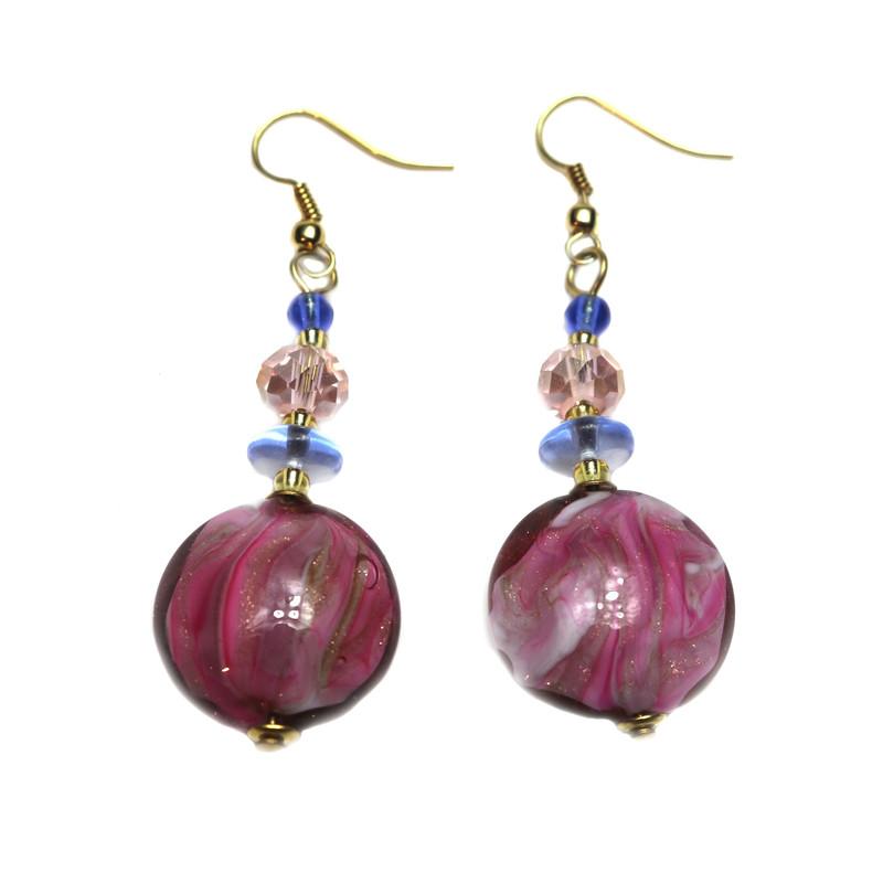 Murano Glass Paradiso Earrings Ruby Blue