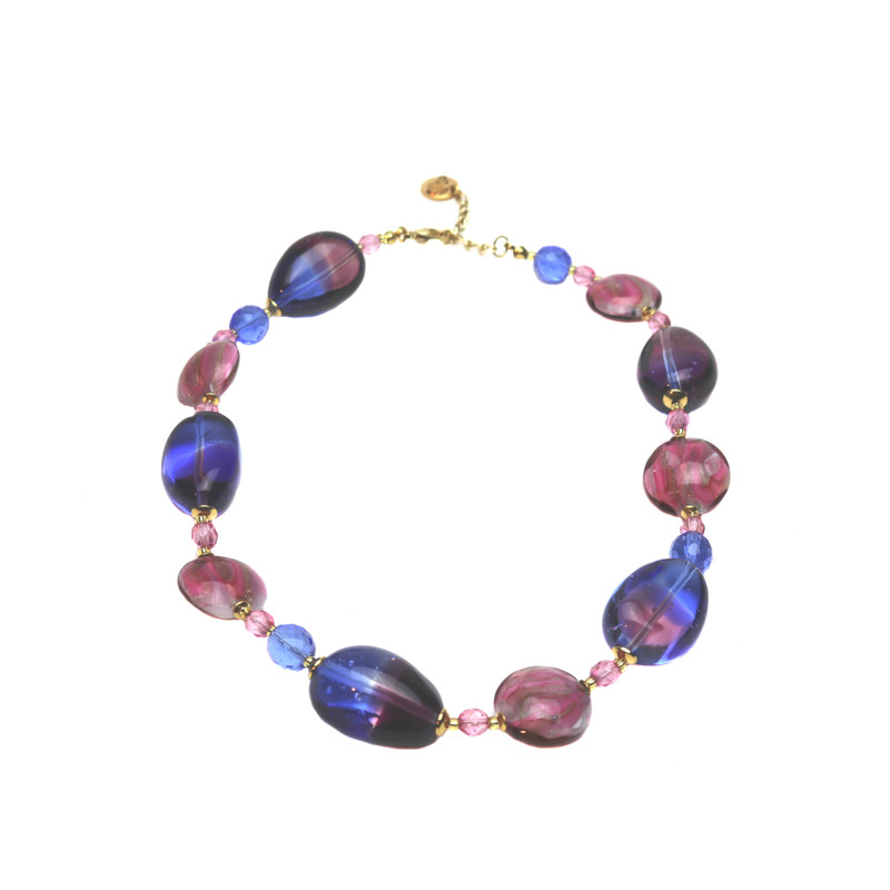Murano Glass Paradiso Necklace Ruby Blue