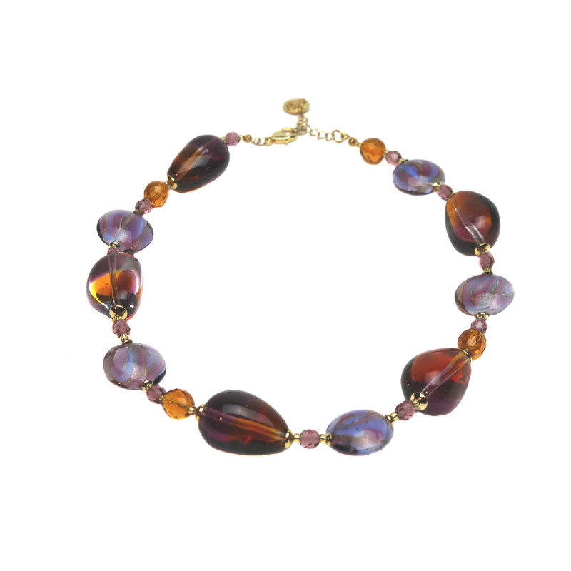 Murano Glass Paradiso Necklace Violet Amber