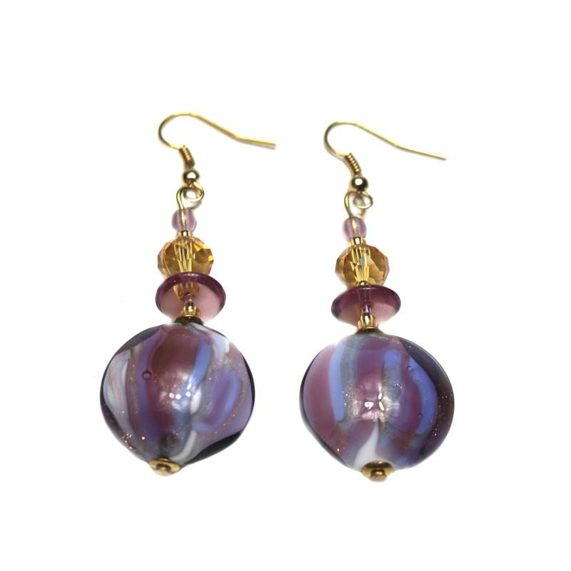 Murano Glass Paradiso Earrings Violet Amber
