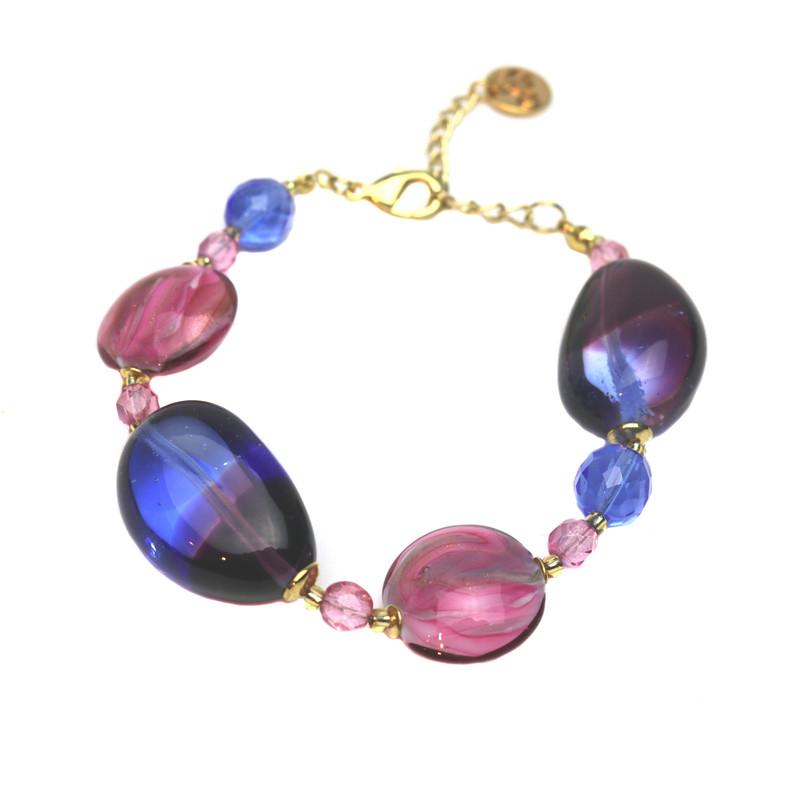 Murano Glass Paradiso Bracelet Ruby Blue