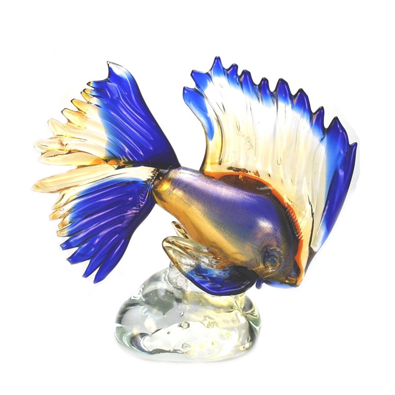 Murano Glass Tropical Fish Amber Blue