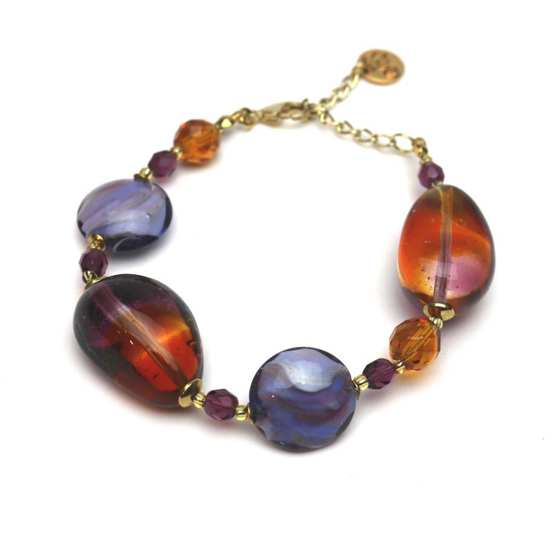 Murano Glass Paradiso Bracelet Violet Amber