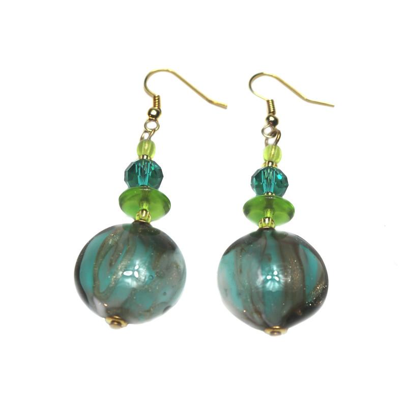 Murano Glass Paradiso Earrings Green Aqua