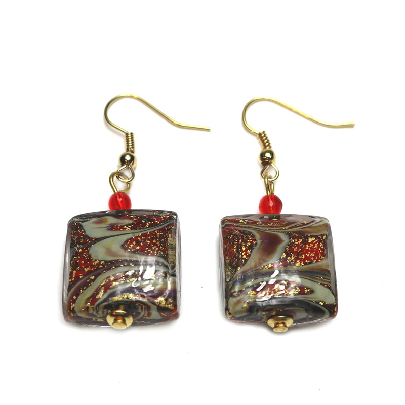 Murano Glass Celestina Earrings Red