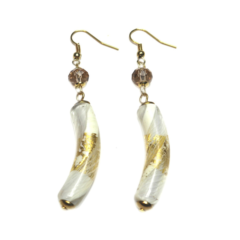 Murano Glass Allegria Earrings White